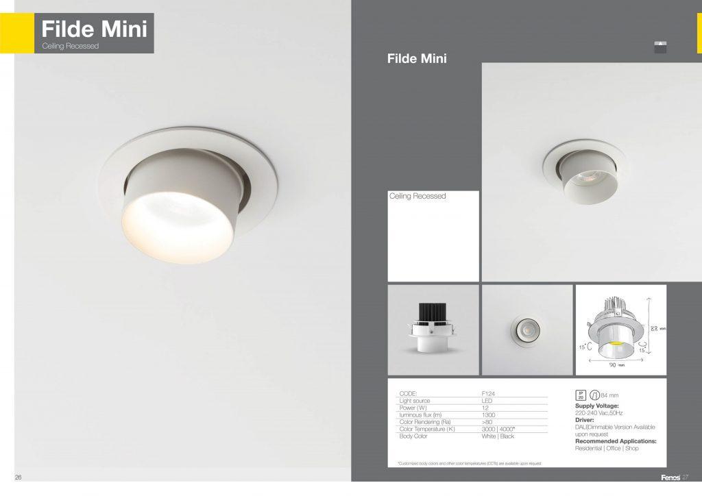 مشخصات شعله سقفی توکار مدل filde mini