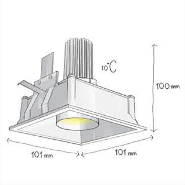 چراغ سقفی توکار مربعی مدرن مدل Tiran S-سایز چراغ