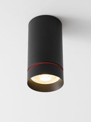 چراغ مدرن روکار سقفی Aro S با بدنه به رنگ مشکی در حالت روشن