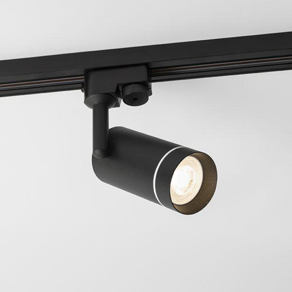 چراغ سقفی ریلی مدرن مدل Aro Track درحالت روشن به رنگ مشکی